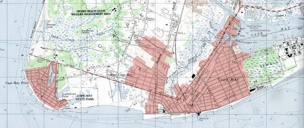 Mapa Topográfico de la Ciudad de Cape Mayo, Nueva Jersey, Estados Unidos