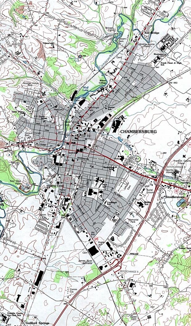 Chambersburg Topographic City Map, Pennsylvania, United States