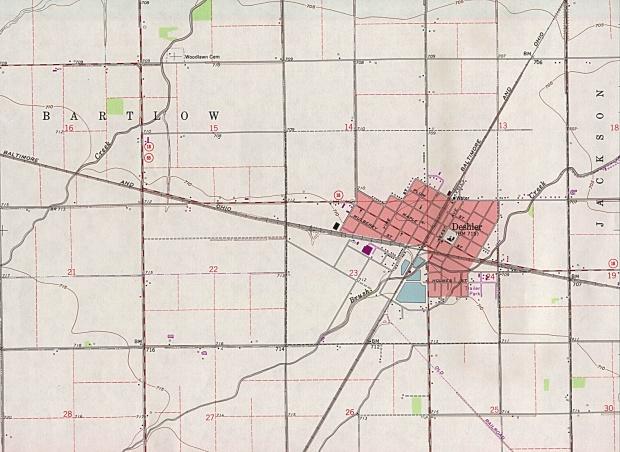 Mapa Topográfico de la Ciudad de Deshler, Ohio, Estados Unidos