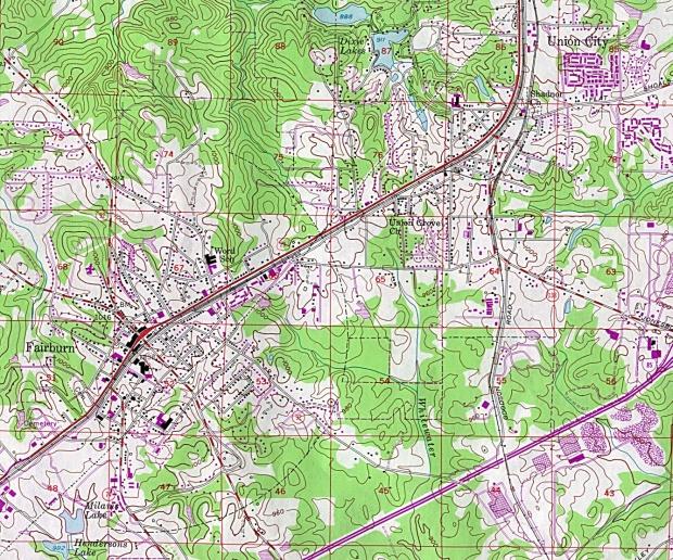 Mapa Topográfico de la Ciudad de Fairburn, Georgia, Estados Unidos