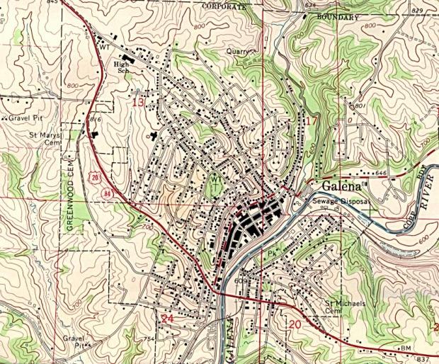 Mapa Topográfico de la Ciudad de Galena, Iowa, Estados Unidos