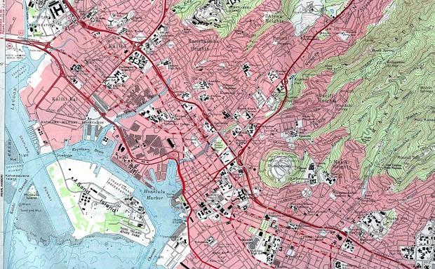 Mapa Topográfico de la Ciudad de Honolulu (Oeste), Hawái, Estados Unidos