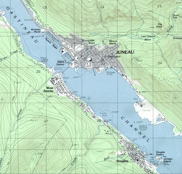 Mapa Topográfico de la Ciudad de Juneau, Alaska, Estados Unidos