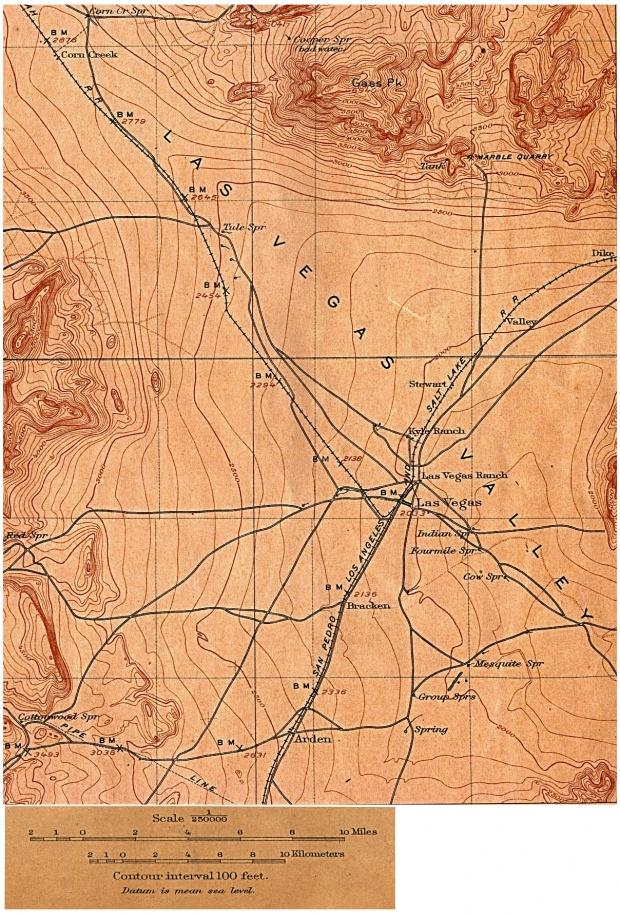 Mapa Topográfico de la Ciudad de Las Vegas, Nevada, Estados Unidos 1908