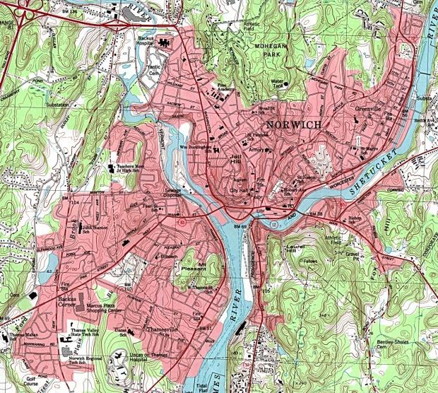 Mapa Topográfico de la Ciudad de Norwich, Connecticut, Estados Unidos