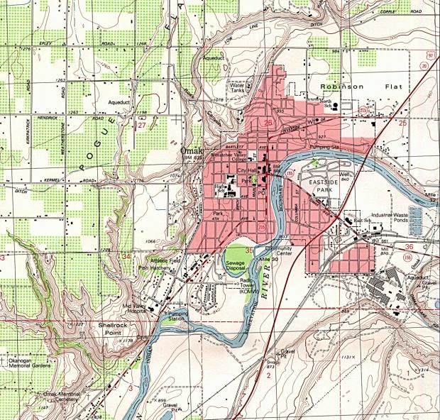 Mapa Topográfico de la Ciudad de Omak, Washington, Estados Unidos