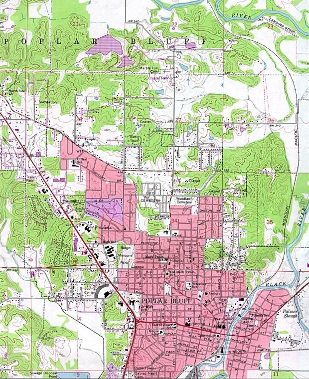 Mapa Topográfico de la Ciudad de Poplar Bluff, Missouri, Estados Unidos