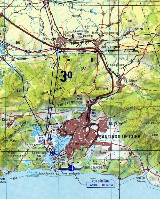 Mapa Topográfico de la Ciudad de Santiago de Cuba, Cuba