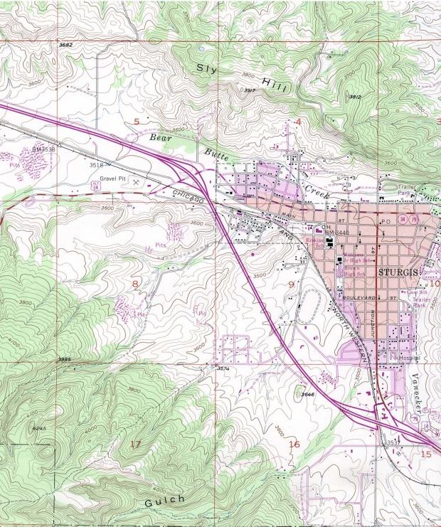 Mapa Topográfico de la Ciudad de Sturgis, Dakota del Sur, Estados Unidos