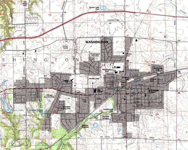 Mapa Topográfico de la Ciudad de Washington, Illinois, Estados Unidos