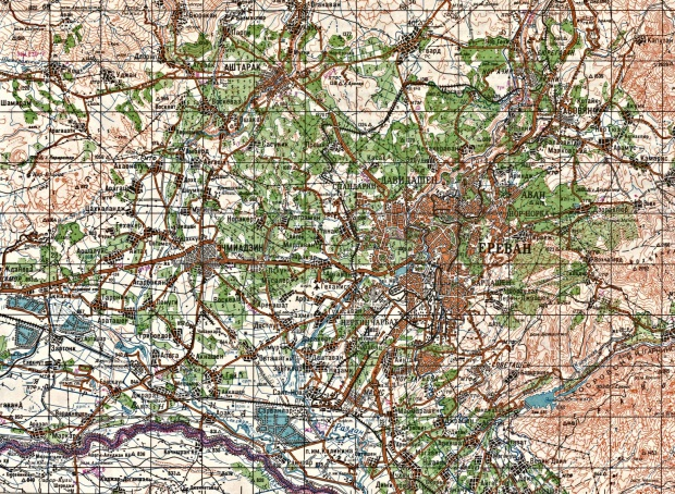 Mapa Topográfico de la Ciudad de Yerevan, Armenia