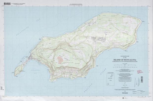 Mapa Topográfico de la Isla de Rota (Luta), Islas Marianas del Norte