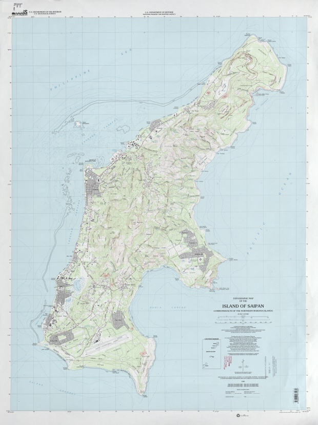 Mapa Topográfico de la Isla de Saipan, Islas Marianas del Norte