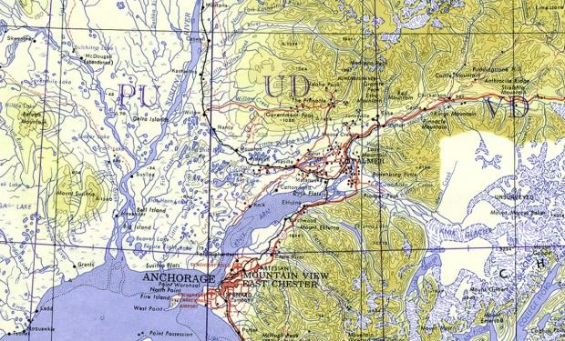 Mapa Topográfico de la Región de Anchorage, Alaska, Estados Unidos