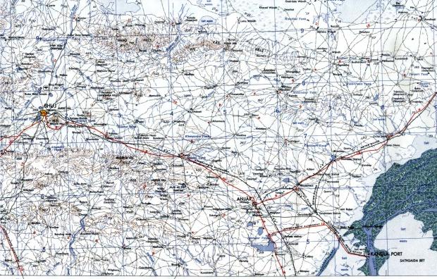 Mapa Topográfico de la Región de Bhuj y Anjar, Gujarat 1959