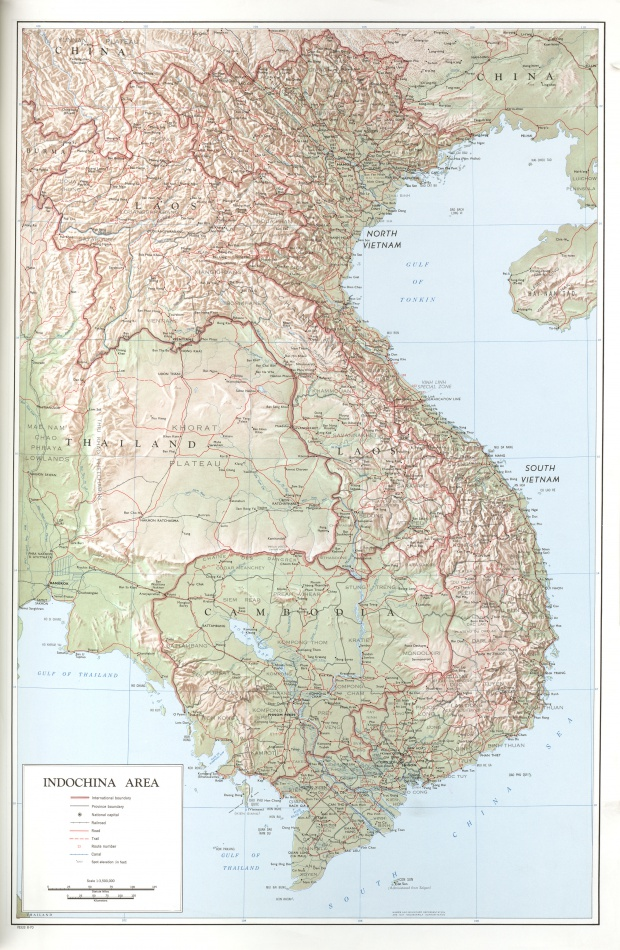 Indochina Area Topographic Map