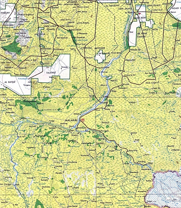 Malakal Area Topographic Map, Sudan