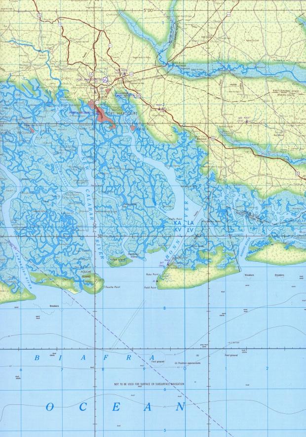 Mapa Topográfico de la Región de Port Harcourt, Nigeria