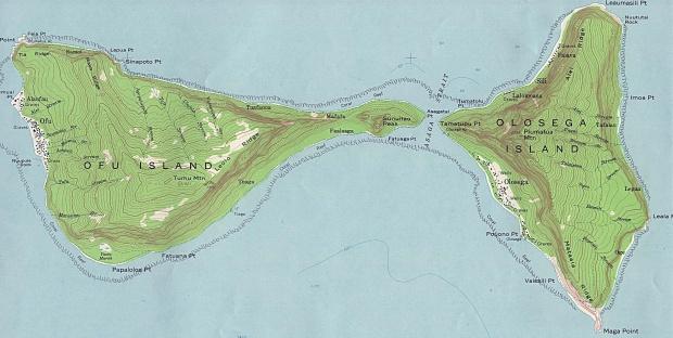 Ofu and Olosega Islands Topographic Map, Manu'a Islands, American Samoa