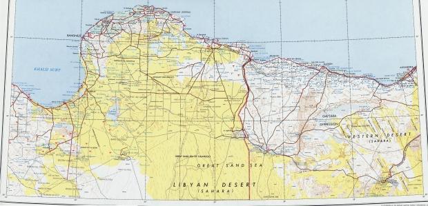 Mapa Topográfico del Nordeste de Libia