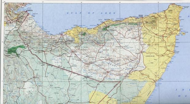 Mapa Topográfico del Norte de Somalia y la Mayor Parte de Yibuti