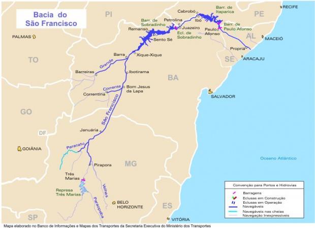 San Francisco Basin Waterways Map, Brazil