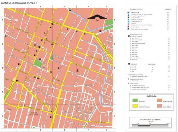 Mapa Zamora de Hidalgo, Michoacán de Ocampo, Mexico
