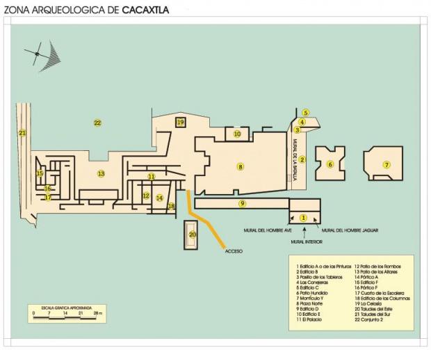 Mapa Zona Arqueológica de Cacaxtla, Tlaxcala, Mexico