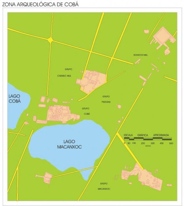 Mapa Zona Arqueológica de Cobá, Quintana Roo, Mexico