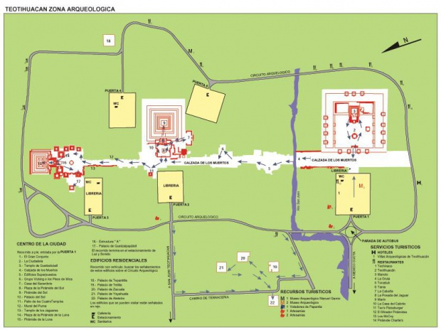 Mapa Zona Arqueológica de Teotihuacan, Edo Mexico