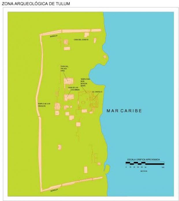 Mapa Zona Arqueológica de Tulum, Quintana Roo, Mexico