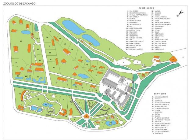 Mapa Zoológico de Zacango, Edo Mexico, Mexico