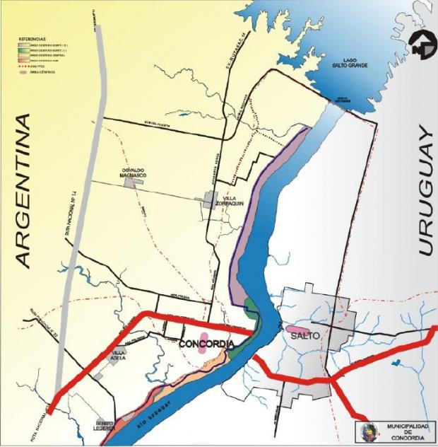 Mapa de Accesos a la Ciudad de Concordia, Prov. Entre Ríos, Argentina