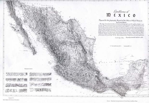 Landforms Map, Mexico