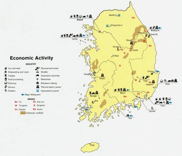 Mapa de Actividad Económica de Corea del Sur