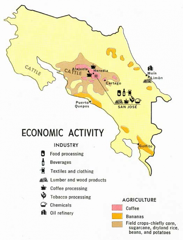 Costa Rica Economic Activity Map