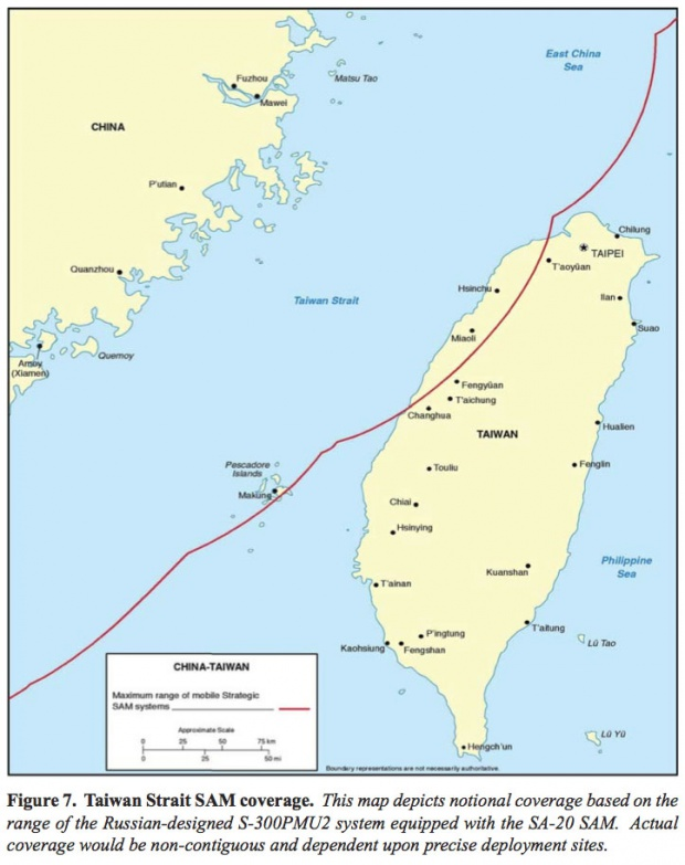 Map of China Taiwan Strait SAM Coverage