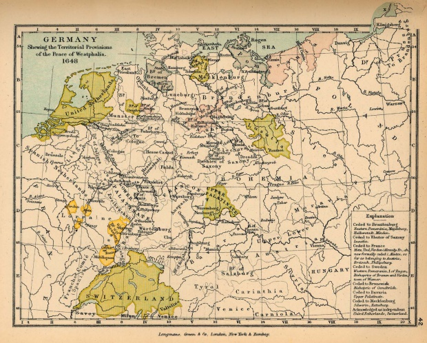 Map of Germany After the Peace of Westphalia 1648