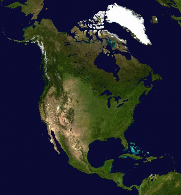 Mapa de América del Norte (satelital)