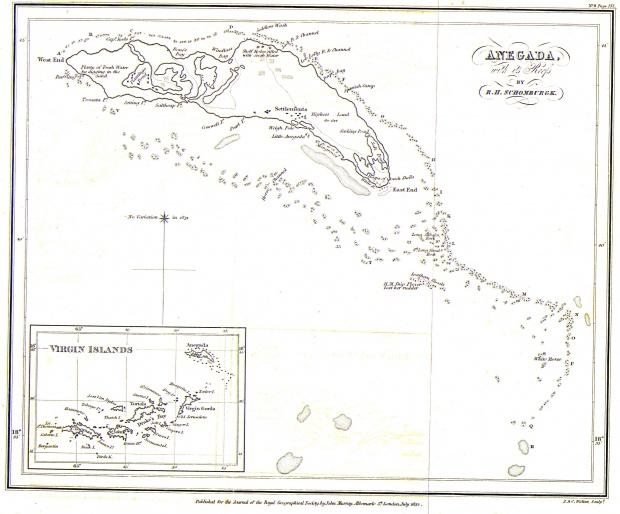 Mapa de Anegada (Islas Vírgenes Británicas) 1832