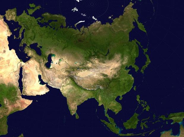 Asia satellite map