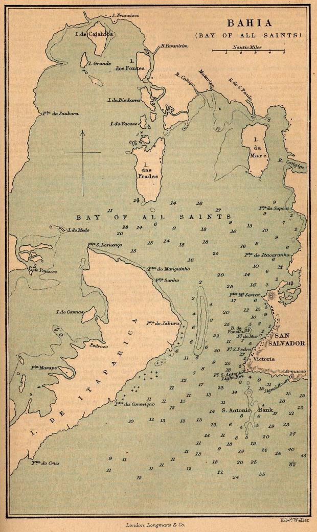 Mapa de Bahía (Bahía de Todos los Santos), Brasil 1882