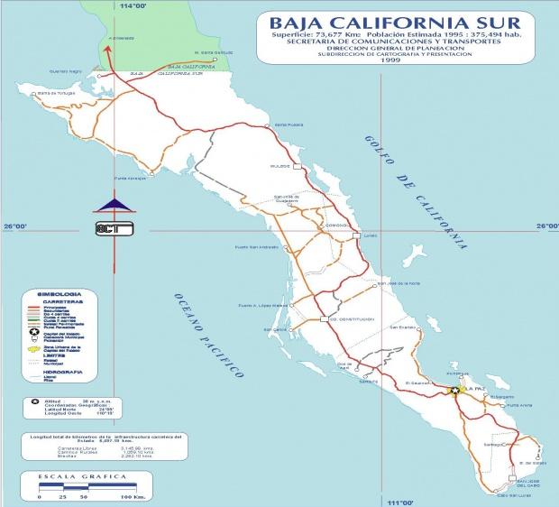 Mapa de Baja California Sur, Mexico