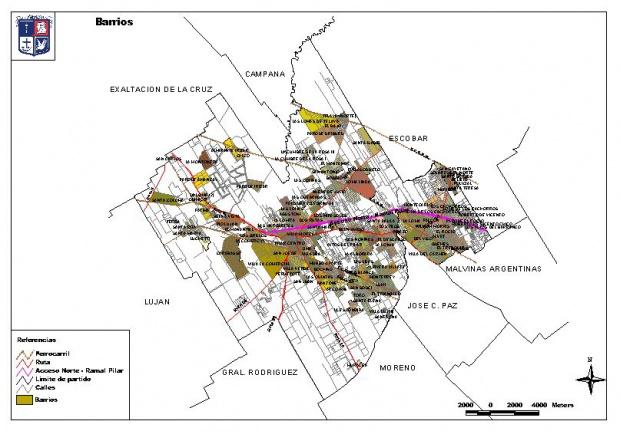 Mapa de Barrios de Pilar, Prov. Buenos Aires, Argentina