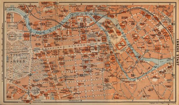 Mapa de Berlín (Interior de la Ciudad), Alemania 1910