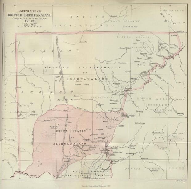 Mapa de Botsuana (Bechuanaland) 1887