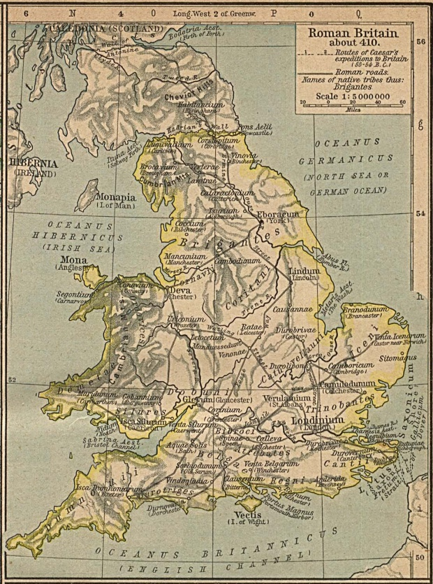 Map of Roman Britain About 410