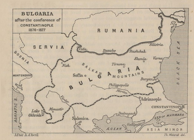 Map of Bulgaria After the Conference of Constantinople 1876  - 1877