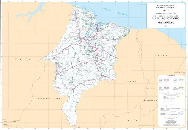 Mapa de Carreteras Federales y Estatales del Edo. de Maranhão, Brasil