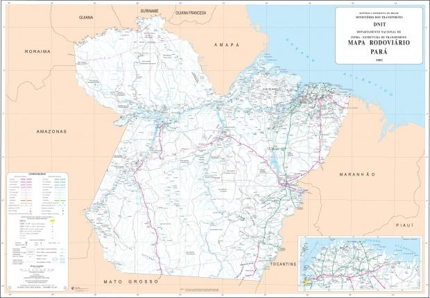 Mapa de Carreteras Federales y Estatales del Edo. de Pará, Brasil